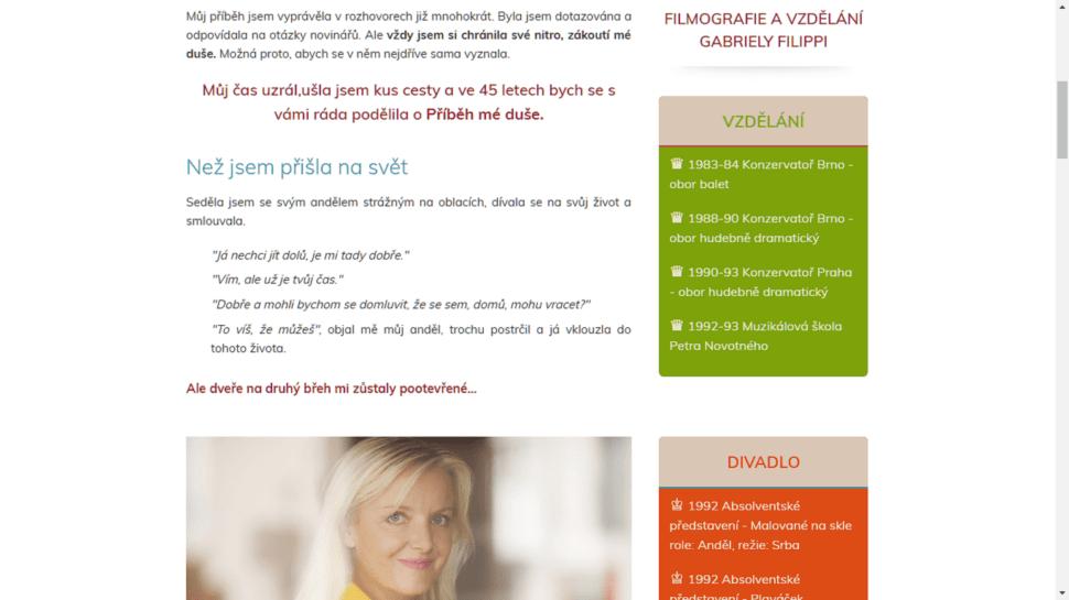 Nový web pro herečku Gabrielu Fipippi